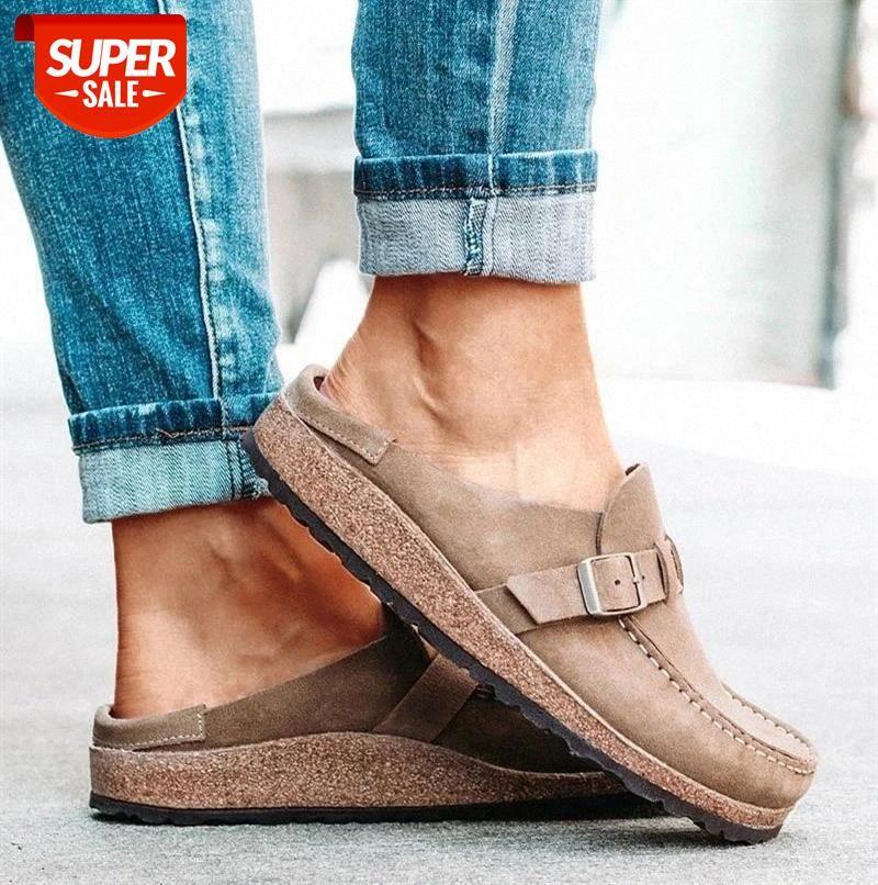 novas mulheres chinelos de verão primavera sandálias moda fivela sólida mulheres apartamentos sapatos casual praia senhoras verão sandálias de verão Navio # J60