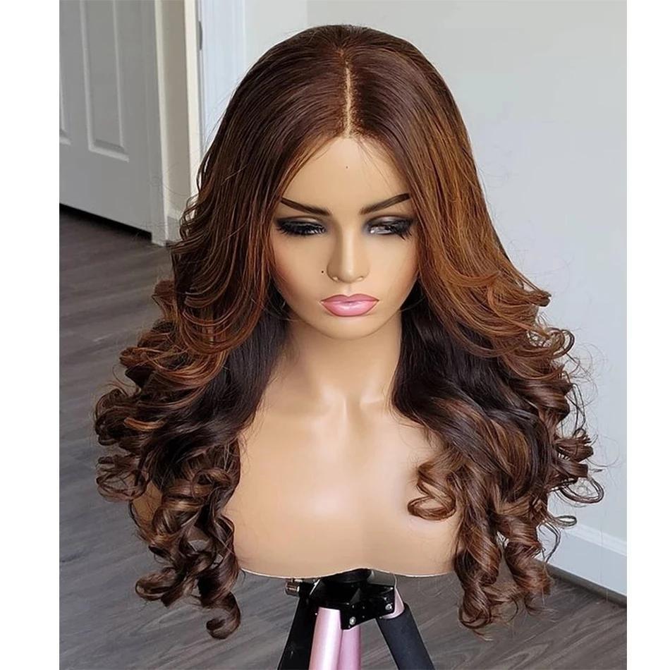 Yan Parçası 200 yoğunluğu vurgulamak 13x6 dantel ön insan saç peruk bebek kılları ile tutkalsız dalgalı kırmızımsı kahverengi 360 dantel peruk remy