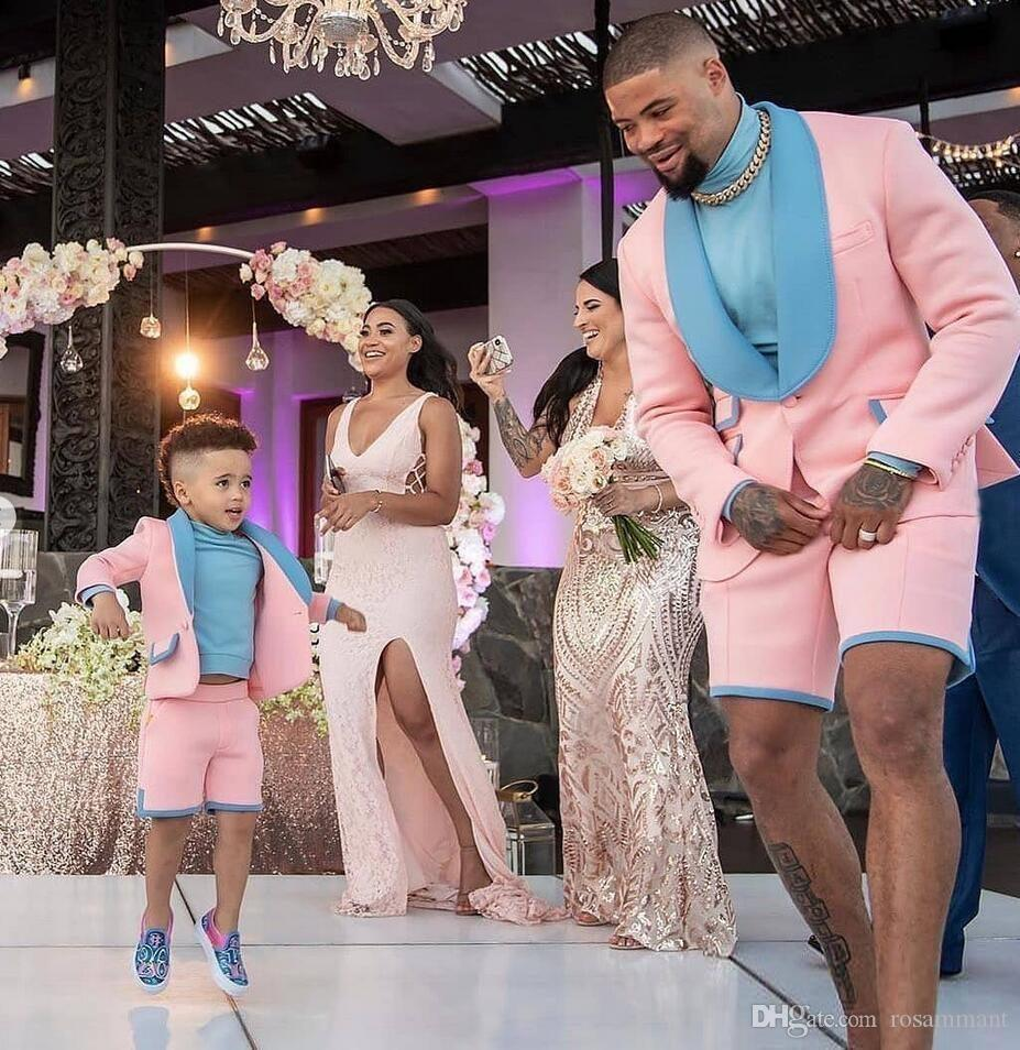 2021 Pembe ve Mavi Groomsmen Suit Damat Smokin Mens Düğün Takım Elbise Düğün / Balo / Plaj / Dans Best Adam Blazer (Ceket + Kısa Pantolon)