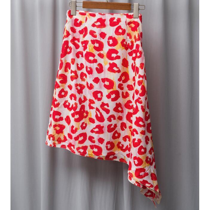 Mujeres 26 mA falda de leopardo rojo de leopTría de impresión de alta cintura a-line Mediano largo Suecia Nórdico Estilo de alta calidad Temperamento clásico Dama