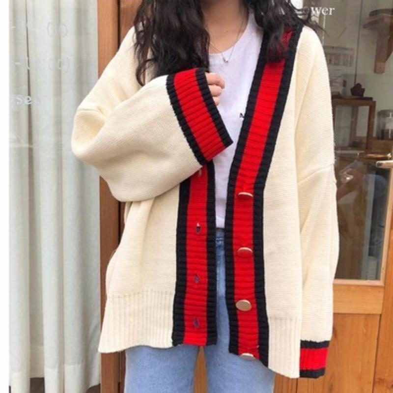 Femmes Automne V tann Coldwork Cardigan Cardigan Pull Manteau Blanc Lâche Plus Taille à manches longues Pull Femme Jersey Tops en maillot V191130