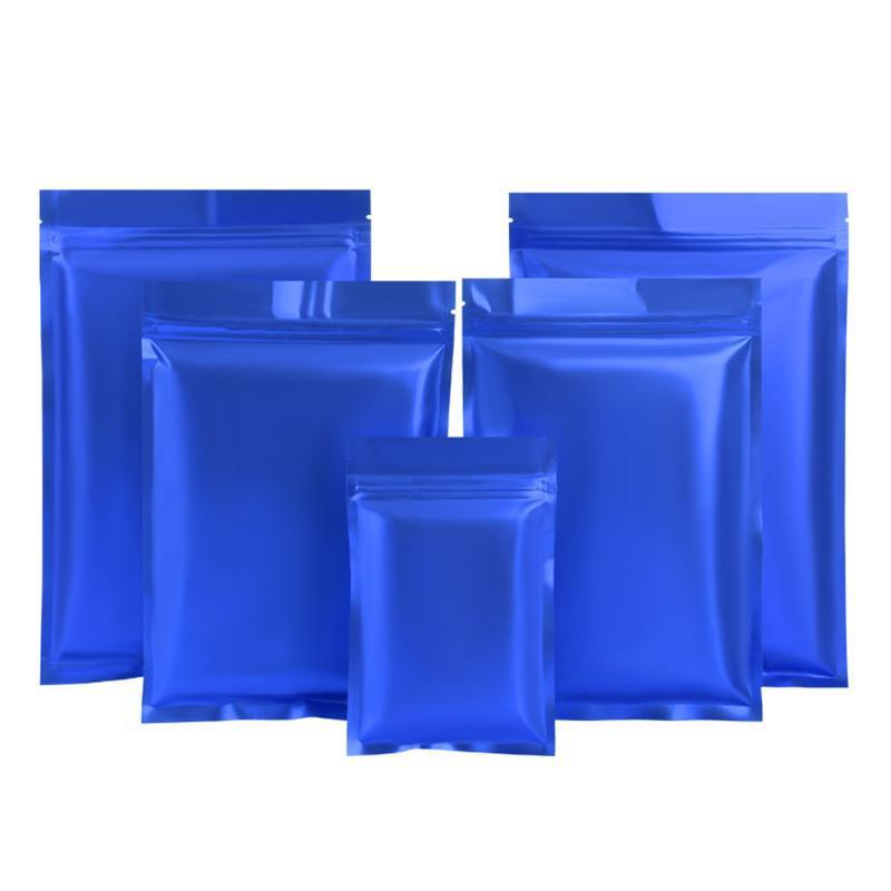 أكياس التخزين 100 قطع ماتي الأزرق الألومنيوم احباط حقيبة مسطحة سستة ختم المسيل للدموع الشق الغبار الغذاء الأرض القهوة حزمة الحقائب