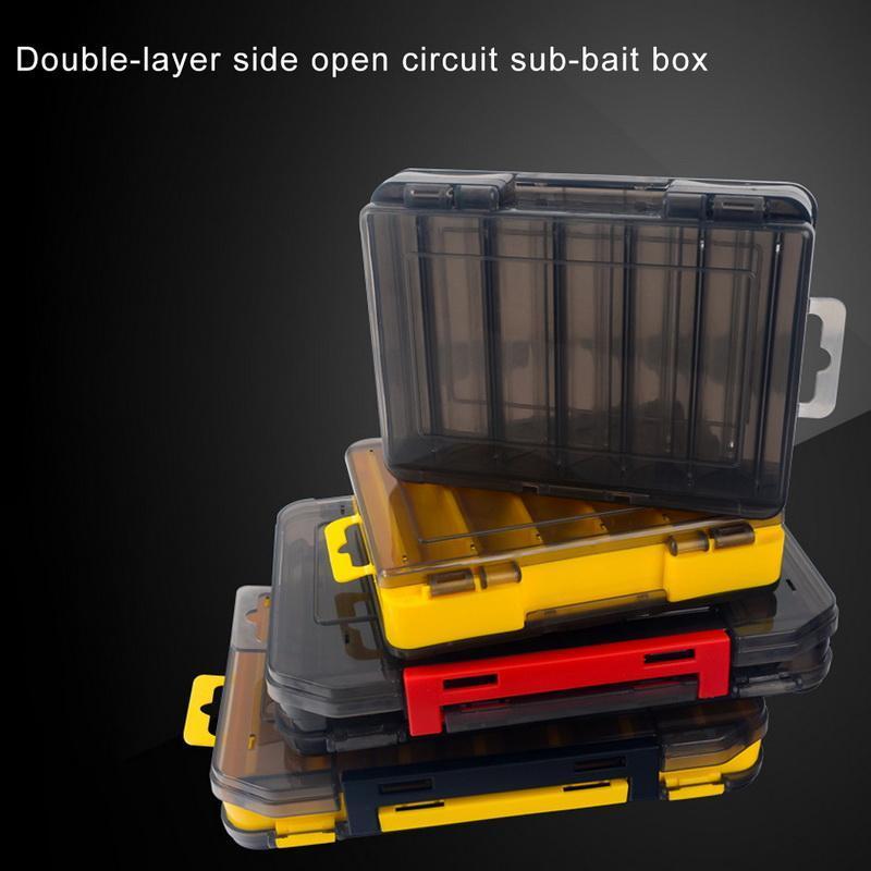 Caja de pesca Cajas de gancho de señuelos Almacenamiento 1214 Habitación Cebo de plástico de doble cara Jig Accesorios de tackle
