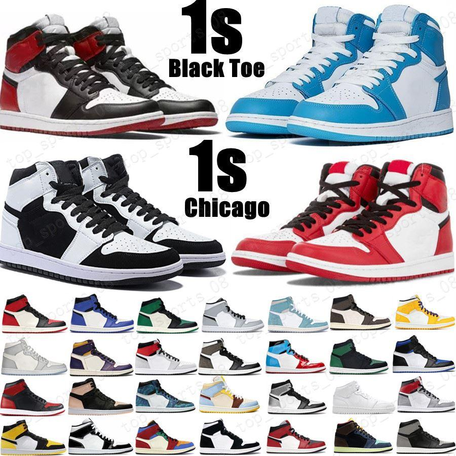 2021 Novo 1 Sapatos de Basquete Ig 1S Mid Chicago Royal Toe Black Gold Pine Gold Green Black Unc Patent Homens Mulheres Sneakers Treinadores
