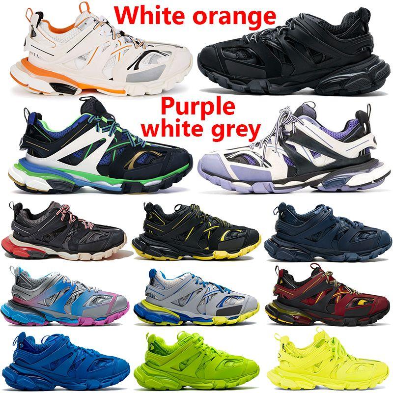 Top Quality Triple S 3.0 Laranja Branco Preto Vermelho Red Sapatos Runner Azul Amarelo Rosa Cinza Casual Moda Homens Mulheres Sneakers
