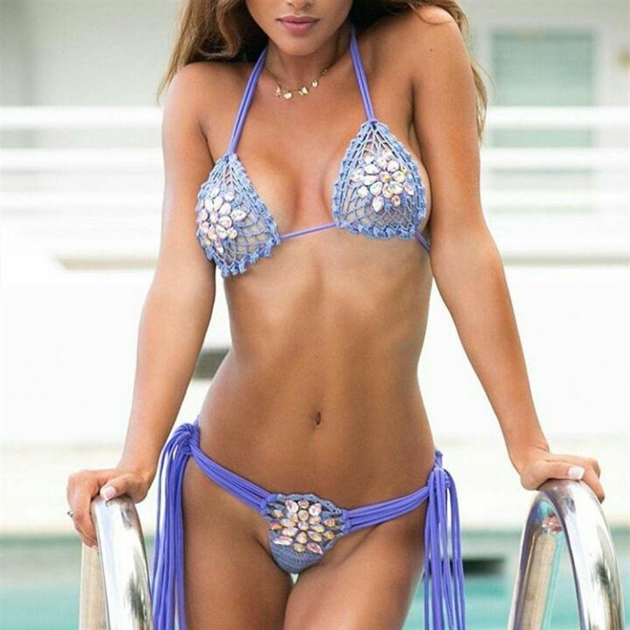 Estilo sexy de las mujeres ahueca hacia fuera el cordón del bikini cordón de la mano Hecha de huelga traje de baño dividido 26EE