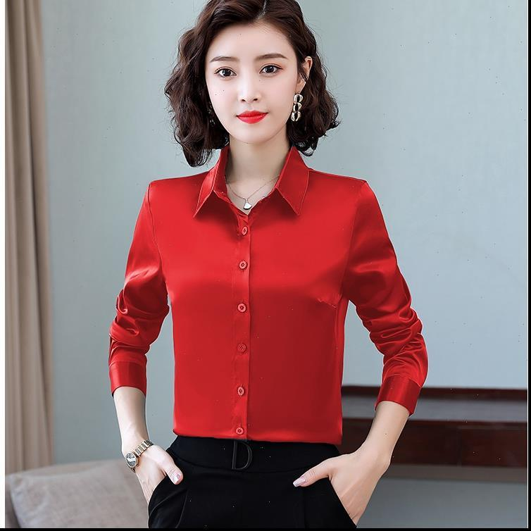 Tingyili M 4XL Artı Boyutu Kadın Gömlek Saten Ipek Uzun Kollu Kore Tarzı Zarif Ofis Bayanlar Yeşil Kırmızı Beyaz
