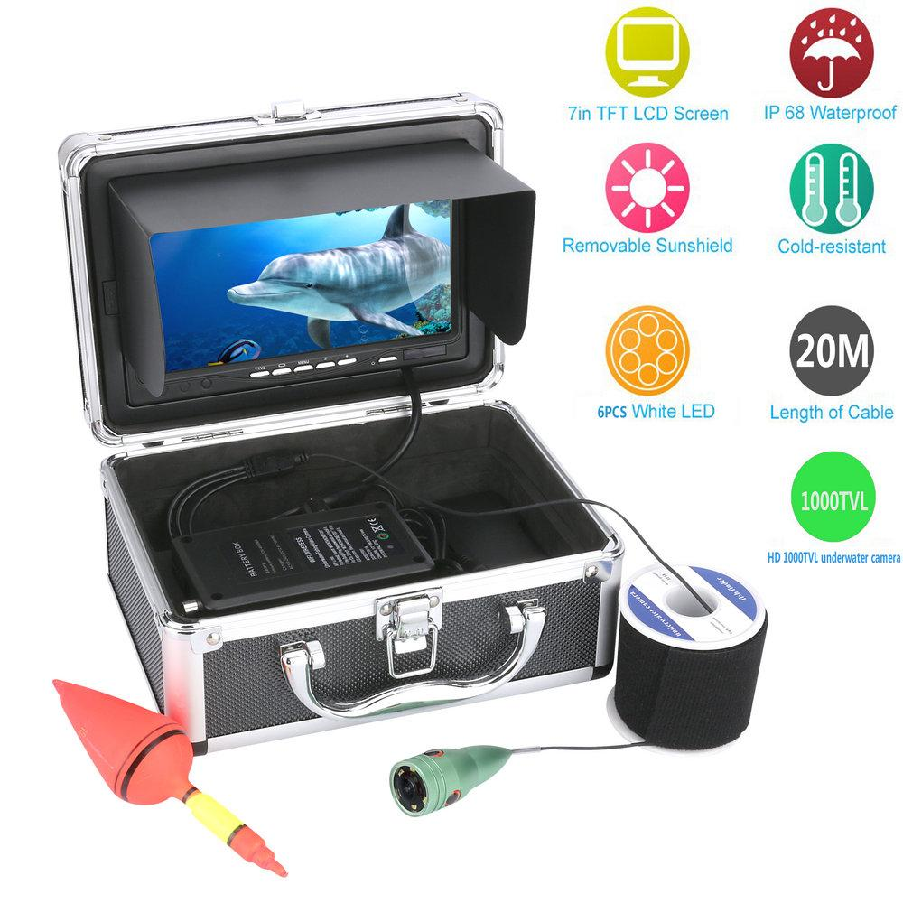 """20M/30M/50M 1000tvl Underwater Fishing Video Camera Kit 6 PCS LED Lights with7"""" Inch Color Monitor"""
