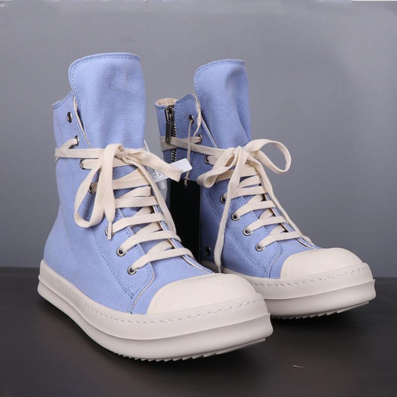 Hombres Botón de lona High-Top Toble Lace Up Entrenadores Rivet Sneaker Botas Casual Marca Zip Pisos Zapato