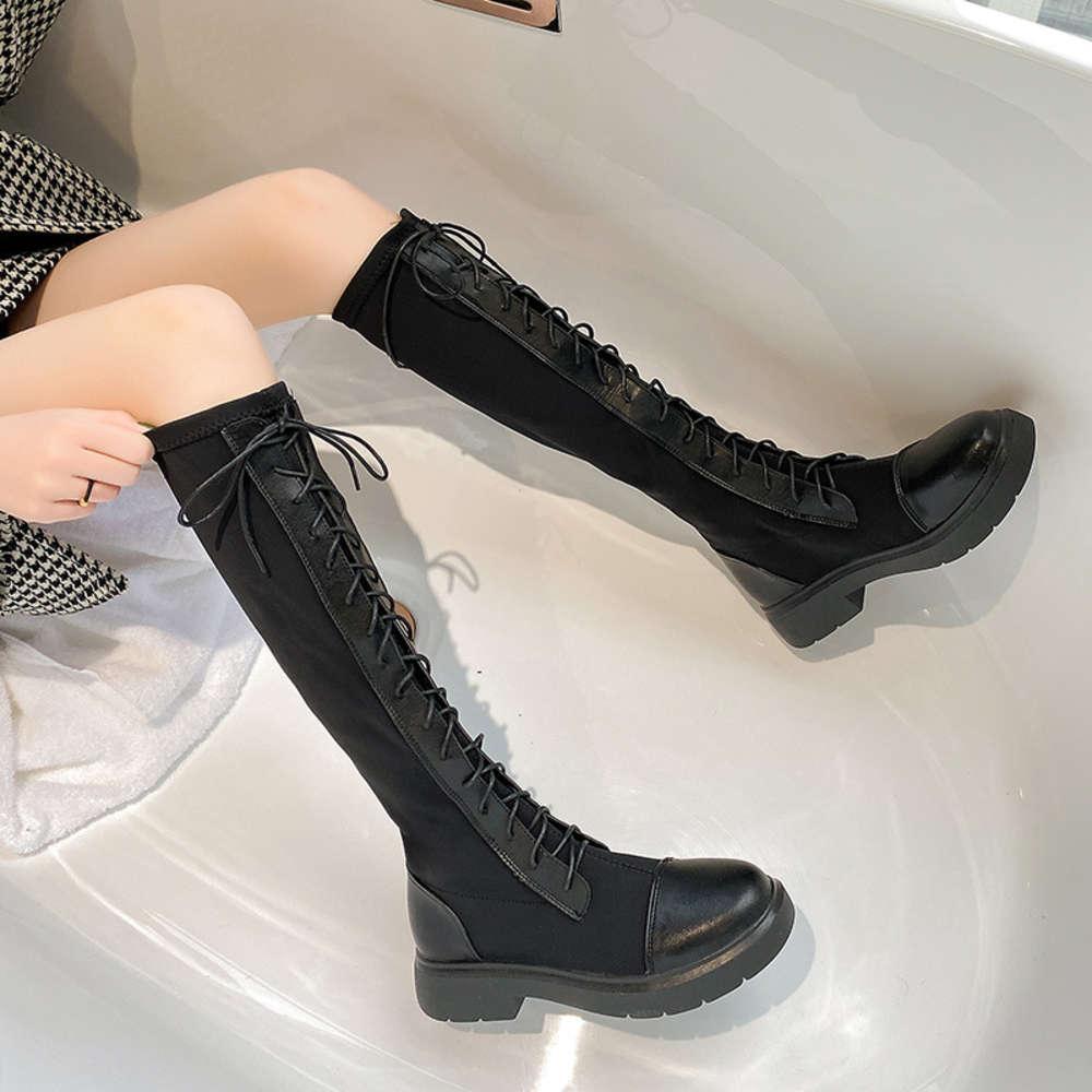 Bootsmiddle et automne pour enfants net rouge inférieur au genou femme courte grand cuir mince bottes longues