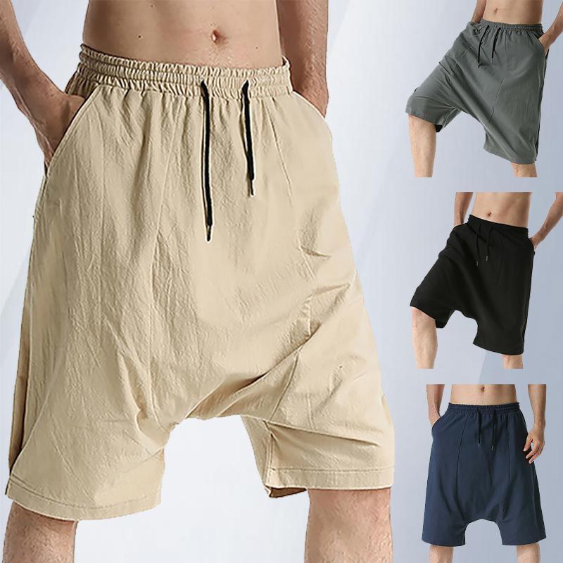 Pantaloncini da uomo 2021 Summer Fashion Harem Pantaloni maschile colore puro traspirante lino in cotone vintage allentato casual casual