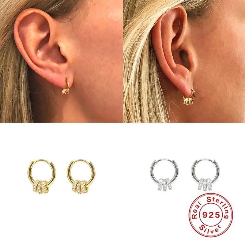 후프 Huggie 925 여성 파티 선물을위한 실버 미니멀리스트 라이트 럭셔리 크리스탈 귀걸이 럭키 구슬 간단한 귀 단추 기하학적 회동