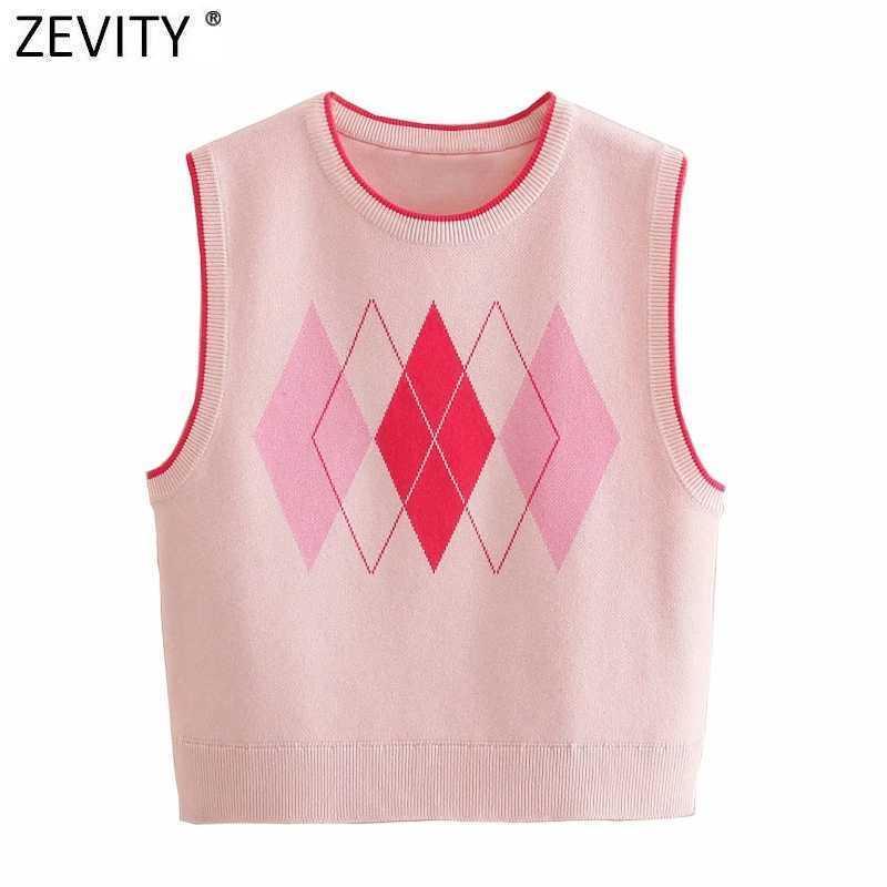 Zevity Frauen Vintage V-Ausschnitt Geometrische Patchwork Kurze Strickpullover Weibliche ärmellose Casual Weste Chic Weste TOPS SW699 210603