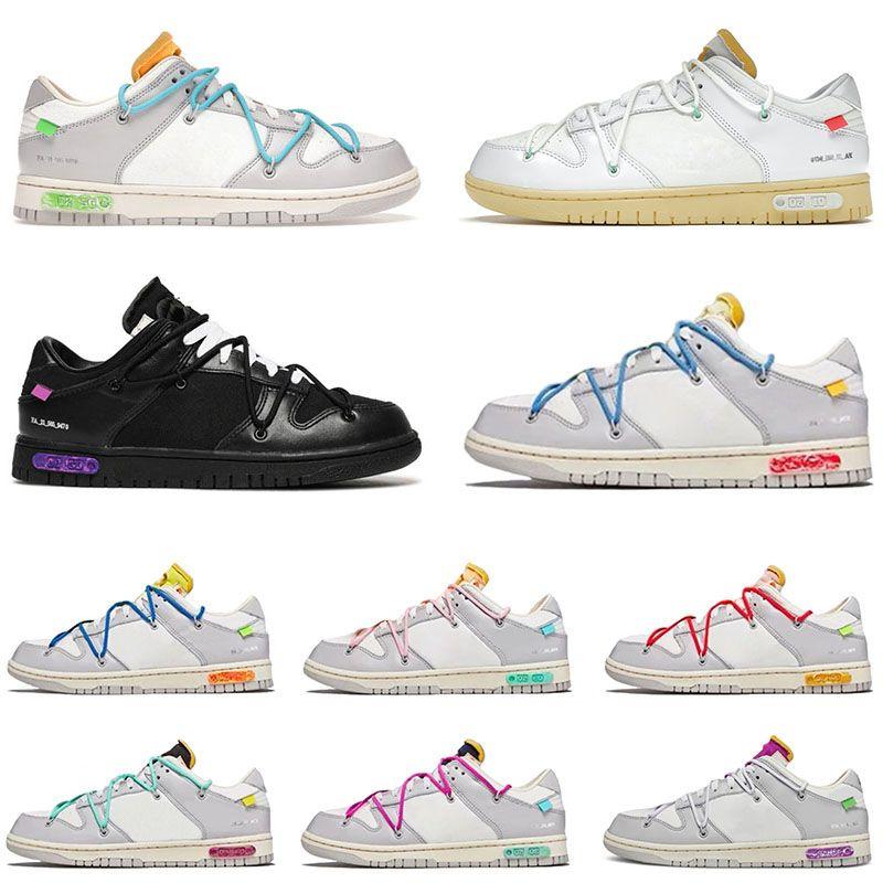 Off White x Nike SB Dunk Low The 50 Dunks Lot 1 Kauçuk Günlük Tasarımcı Ayakkabı Erkek Kadın Siyah Beyaz Sb Mor Yeşil Pembe Mavi Yelken Kırmızı Eğitmenler Spor Platformu Sneakers