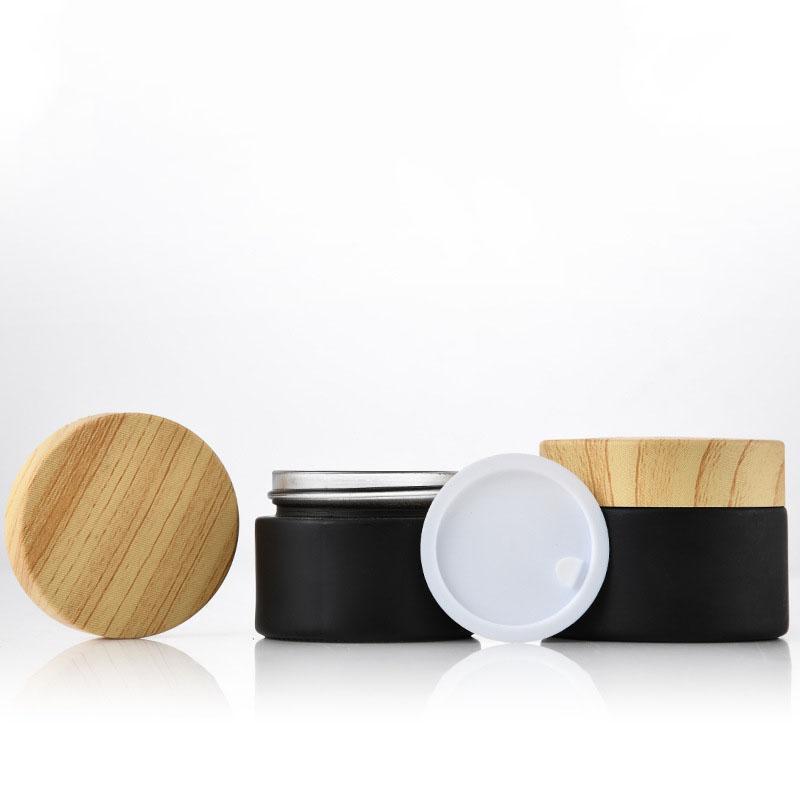 Barattoli in vetro smerigliato nero vasetti cosmetici con coperchi in plastica woodgrain fodera PP 5G 10G 15G 20G 30 50 G0G BalmA Balm Cream Contenitori 452 S2