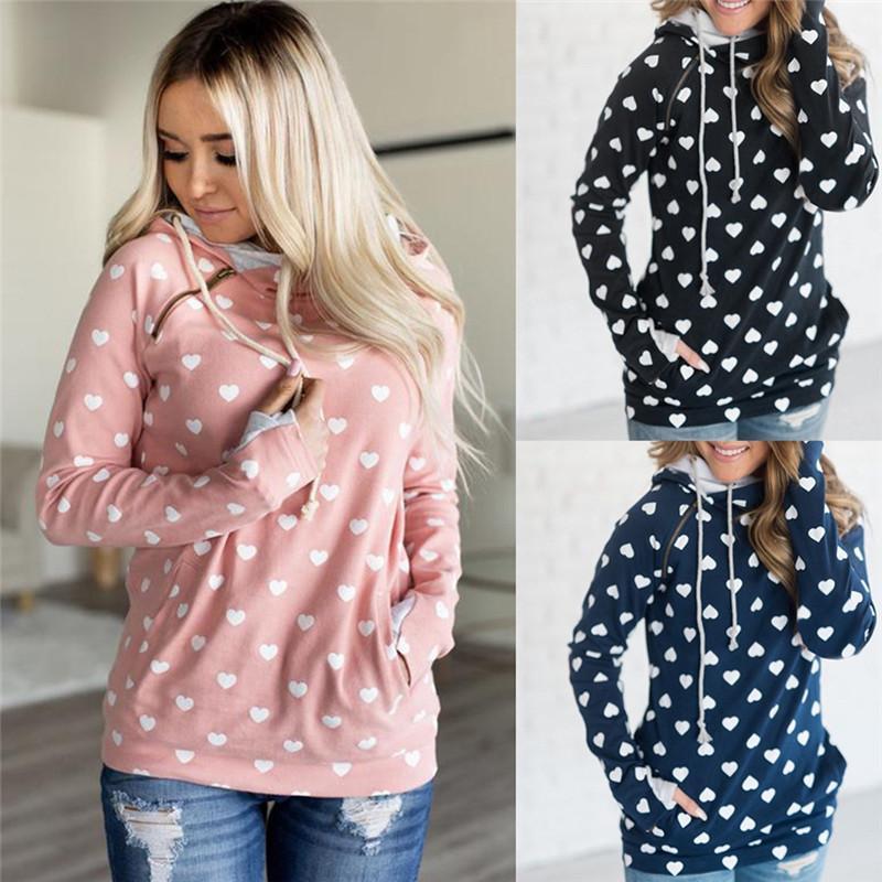 Hoodies das mulheres camisolas 2021 Zipper lateral pulôver moletom moletom hoodie queda / cópia do inverno Coração encapuçado