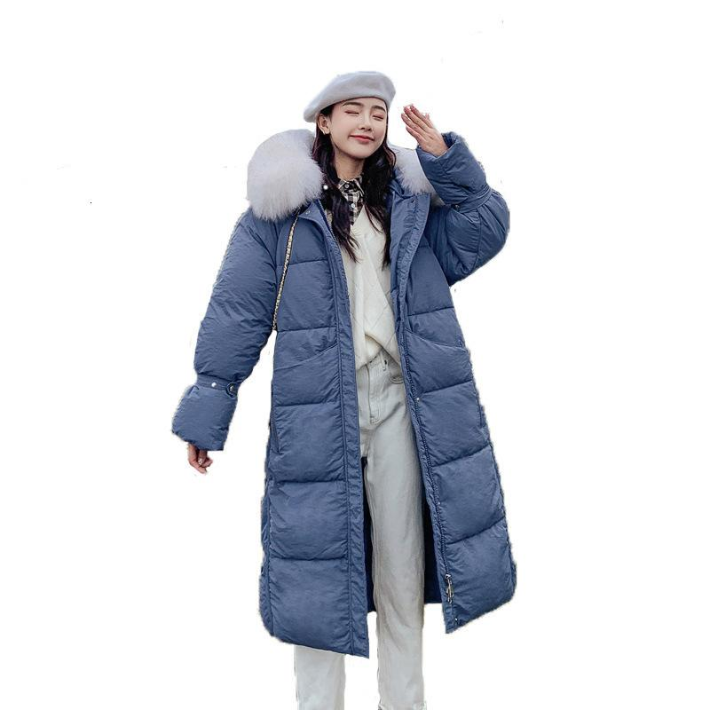 2021 nouveau manteau femelle hiver section longue de gros collier de fourrure Down coton couette grande taille veste lâche veste chaude MS. Vêtements d'extérieur