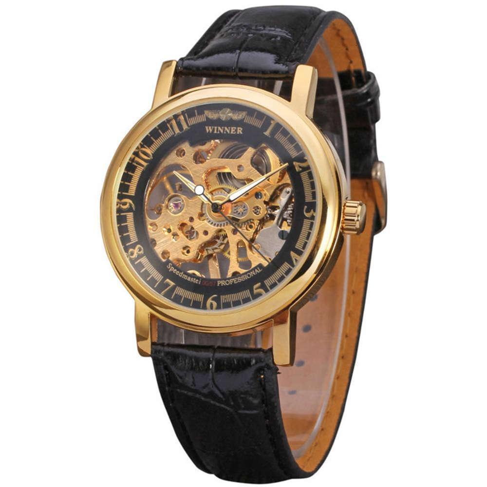 Reloj Ganador Ocio para hombres Clásico Moda ahueca manual mecánico
