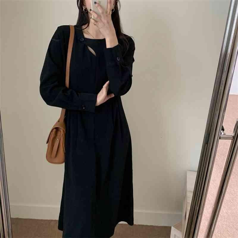 Casual Dresses stilvoller Eleganz solider Herbst hohe Taille Streetwear Slim Party Femme Lady lose ol long es vestidos d6my