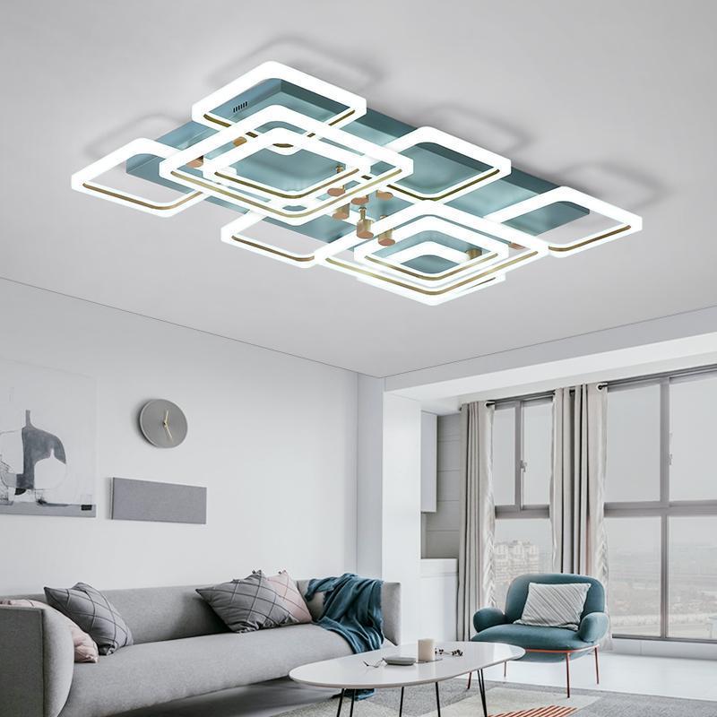 Modern Led Chandelier Lamps Square Frame For Living Room White + Blue Home Lighting Fixture Ceiling Lights