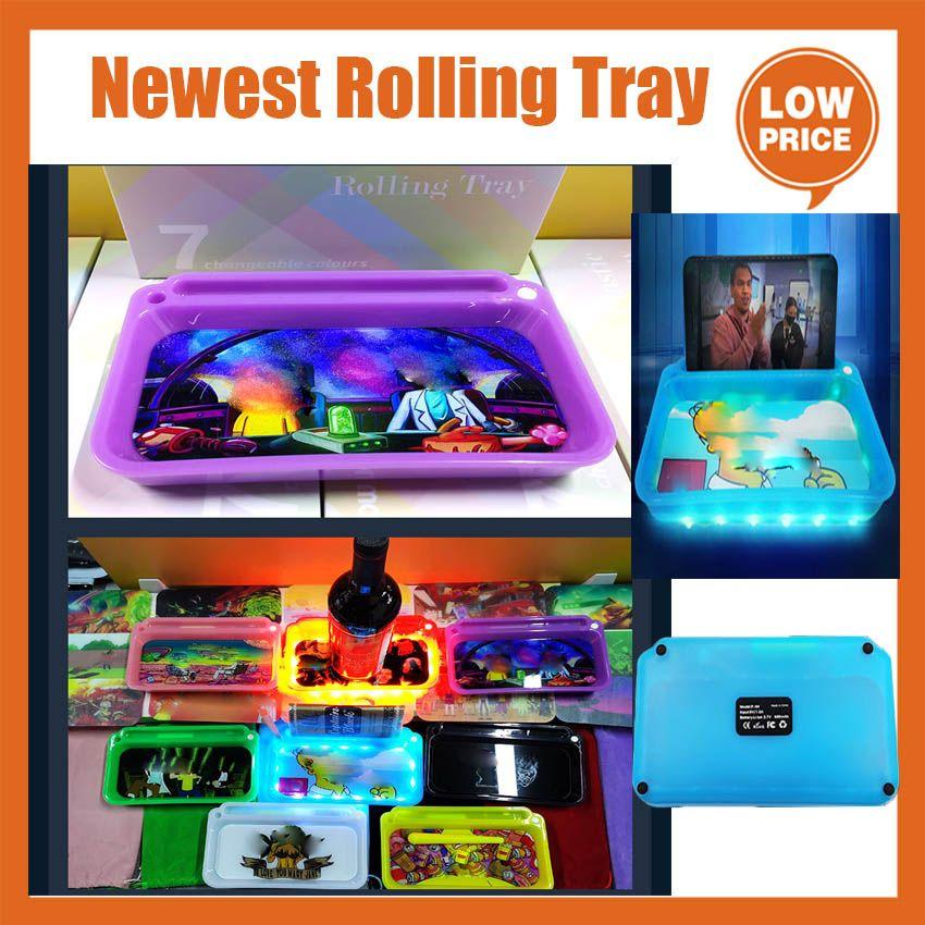 Печатка Rolling Trays Светодиодная Светового лотка Силикон с батареей Крышка Держатель Телефон Световой Световой Рулон для табака Сухое Хранение Хранение Аккумуляторная курение Сервировая Плита PK Cookies