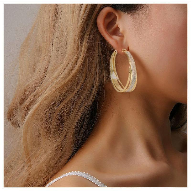 Hoop & Huggie Trendy Big Circle Gold Color Earrings For Women Simple Elegant Round Fashion Women's Ear Creoles Jewelry Accesorie