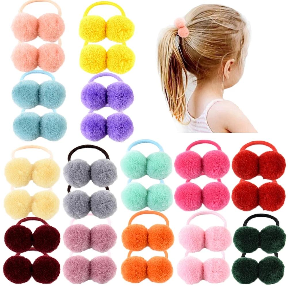 """1.4"""" Small Solid Double Fur Ball With Elastic Rope Handmade Hair Band For Kids Girls Hair Accessories"""