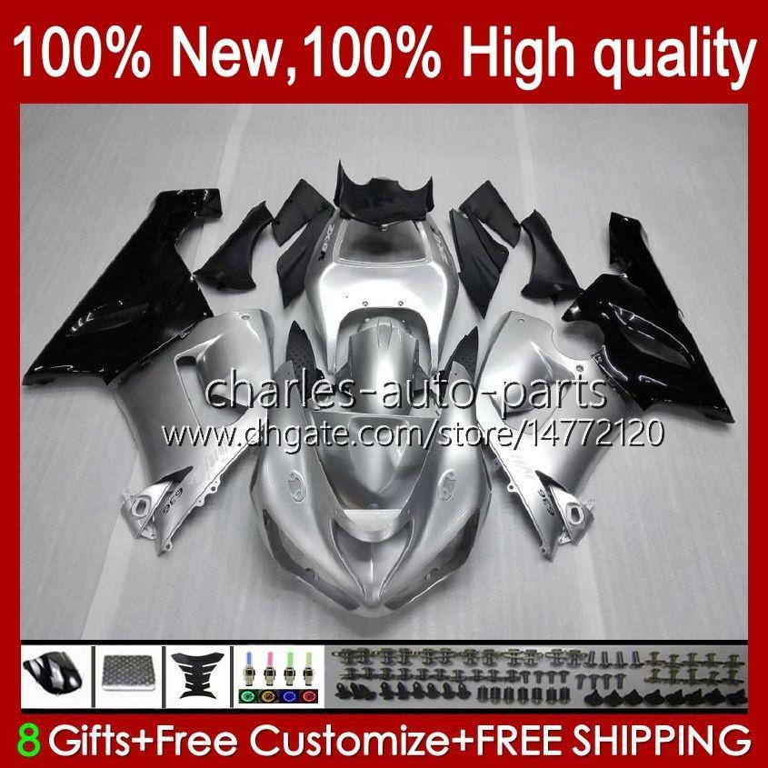 Cuerpo de moto para Kawasaki Ninja OEM ZX600C ZX636 ZX 6R 6 R 600CC 05-06 Bodyworks 7NO.9 ZX600 ZX 636 ZX-6R 2005 2006 ZX-600 ZX-636 600 CC ZX6R 05 06 ABS Kit de carga brillante plateado