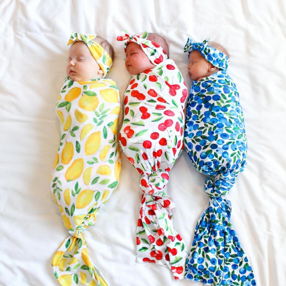 Baby Sleep Sacs Swaddle Wrap Couverture Turban Bandeau de Turban 2 PCS Photographie InS Toddler Cartoon Citron Fruit Imprimer Sacs Muslin Prop 80x80cm
