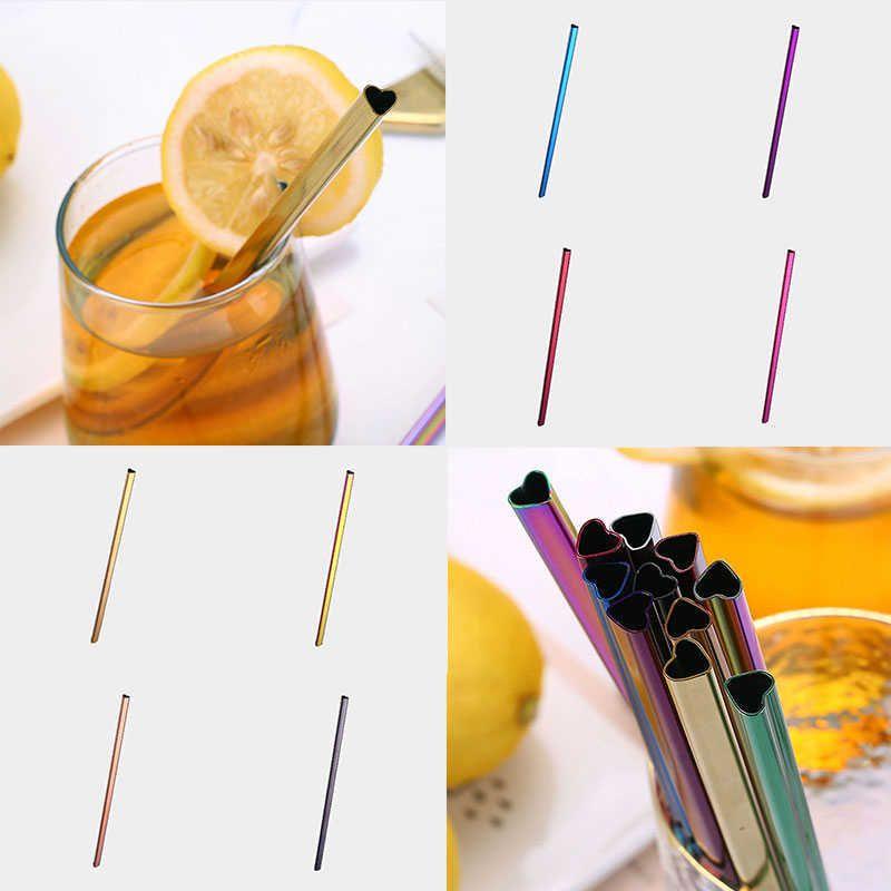 Kullanımlık Kalp Şeklinde Kabarcık Çay Milkshake Saman Renkli Paslanmaz Çelik İçme S Set Bar Boba Düz Tüpler Y0709