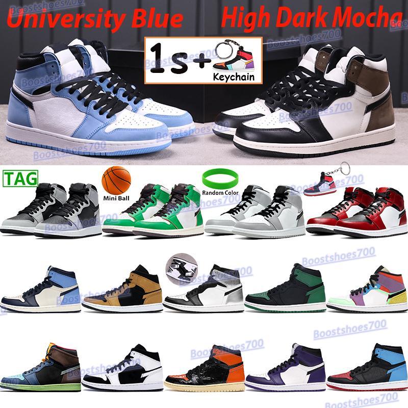 ارتفاع الرجال أحذية كرة السلة 1 1s الجامعة الأزرق الداكن موتشا ضوء دخان غراي تويست شيكاغو فضة تو أبيض أسود سبج براءات الاختراع أحذية