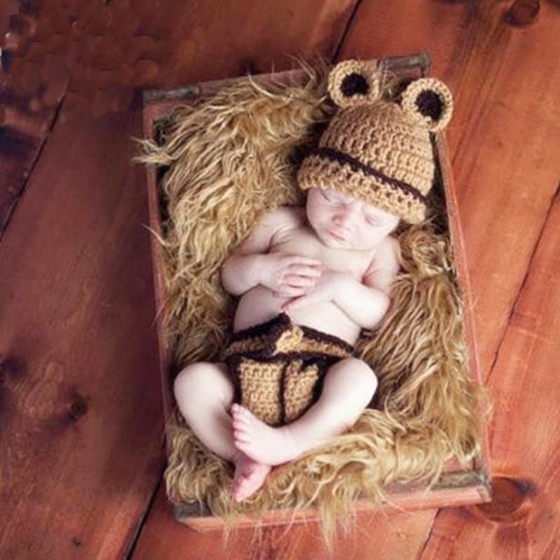 니트 아기 곰 모자 비니 의상 태어난 첨탑 Props Crochet Po Shoot Caps 모자를위한 집 의상 옷