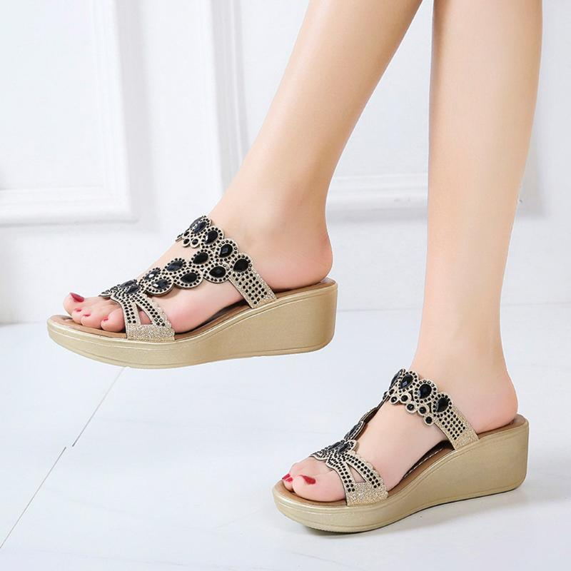 Bohemian Style Wedges Causal Slippers Crystal Open Toe Walking Flip Flop Thin Mid Heels Summer Outdoor Beach Shoes 2021 008