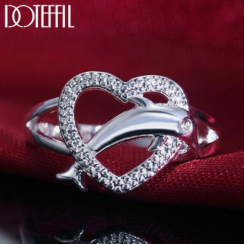 Anillo de delfines de circón en forma de corazón de plata esterlina para las mujeres de moda de boda de bodas de regalo de la joyería de la joyería