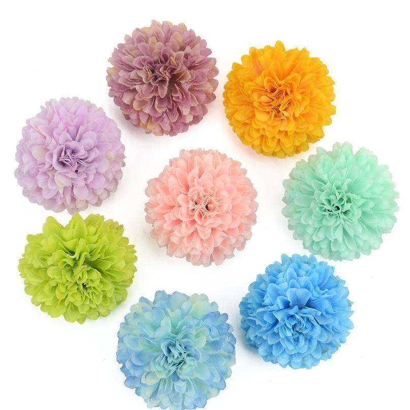 Decorazione FAI DA TE Pompon artificiale Pompon falso Flower Head Hydrangea Home Casa Scrapbooking da sposa 10pcs 5cm Garofano di seta