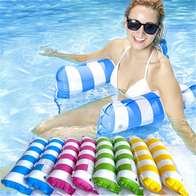 130-73cmFashion Inflatable Floating Water Hammock Lounge Bed Chair Summer Kickboards Pool Float Swimming Pool Inflatable Bed Beach