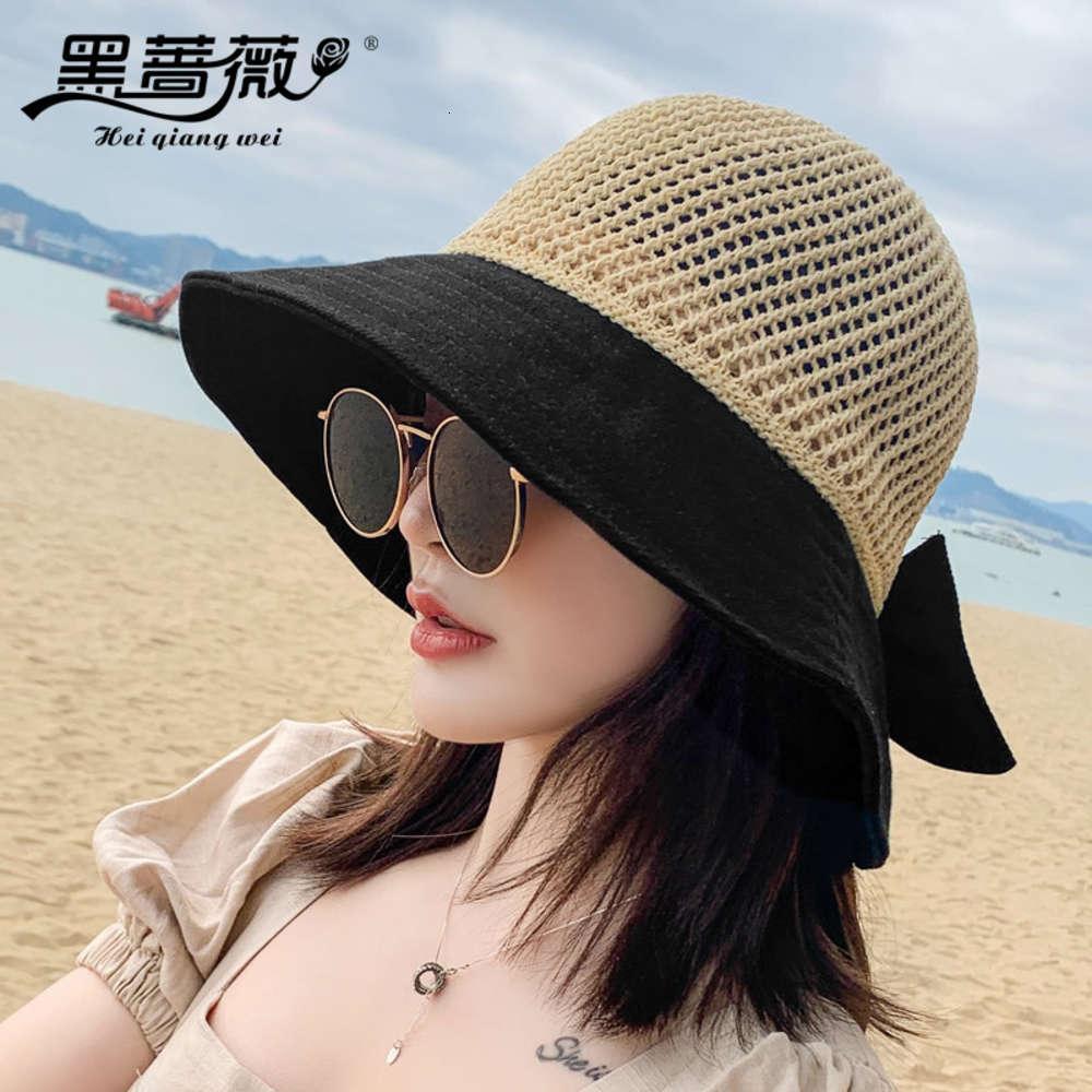 Bloc de pêcheur d'été féminin épissage de la pêche ronde chapeau au soleil rond bord