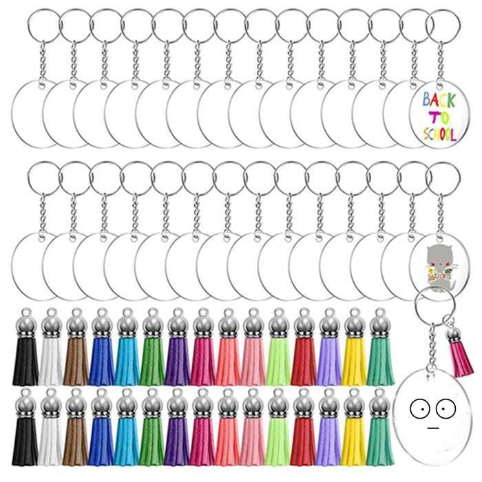 DIY اليدوية سلاسل الحرف تذكارية حزب صالح 30 قطع شفافة جولة أكريليك المفاتيح أقراص فارغة متعدد الألوان شرابة قلادة كيرينغ مجموعة WY1242