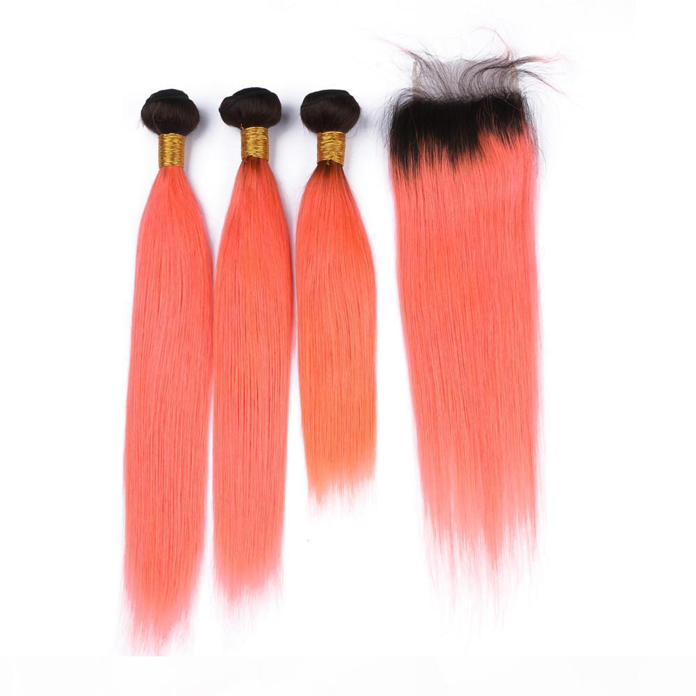 # 1B orange dunkle Wurzel Ombre Virgin Brasilianische Haare webt 3 Bündel mit Verschluss Gerade Ombre Orange menschliche Haarfüke mit 4x4 Spitzenverschluss