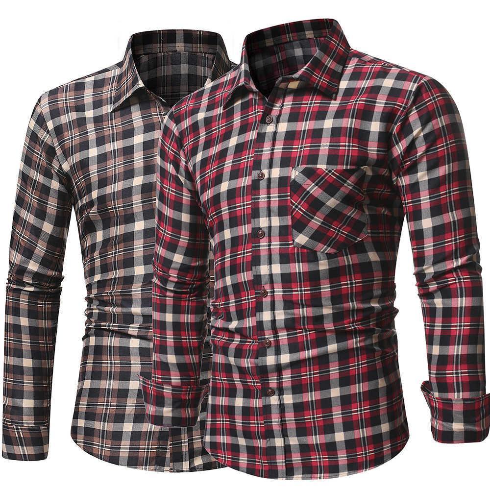 Camisa a cuadros de manga larga de manga larga para hombre de primavera y verano para hombre Slim Fit Amply Cardigan Top