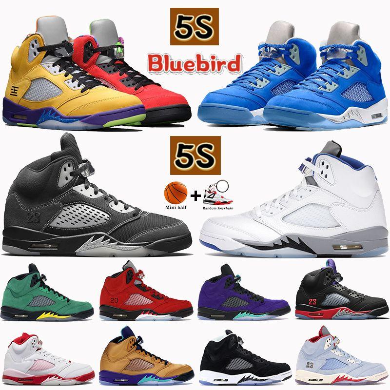 2021 5 5S Basketball Chaussures Bluebird Quel est l'anthracite Alternate Alternate Grape Blanc Blanc Blanc Stealth Stealth Raging Black Noir Noir Mens Baskets Baskets Formateurs