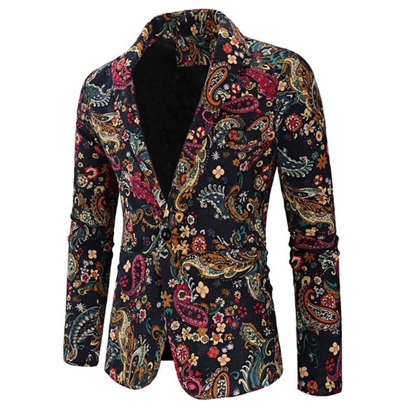 Abiti da uomo BLAZERS PAISLEY PRINT SHAWL Collar One Button Blazer