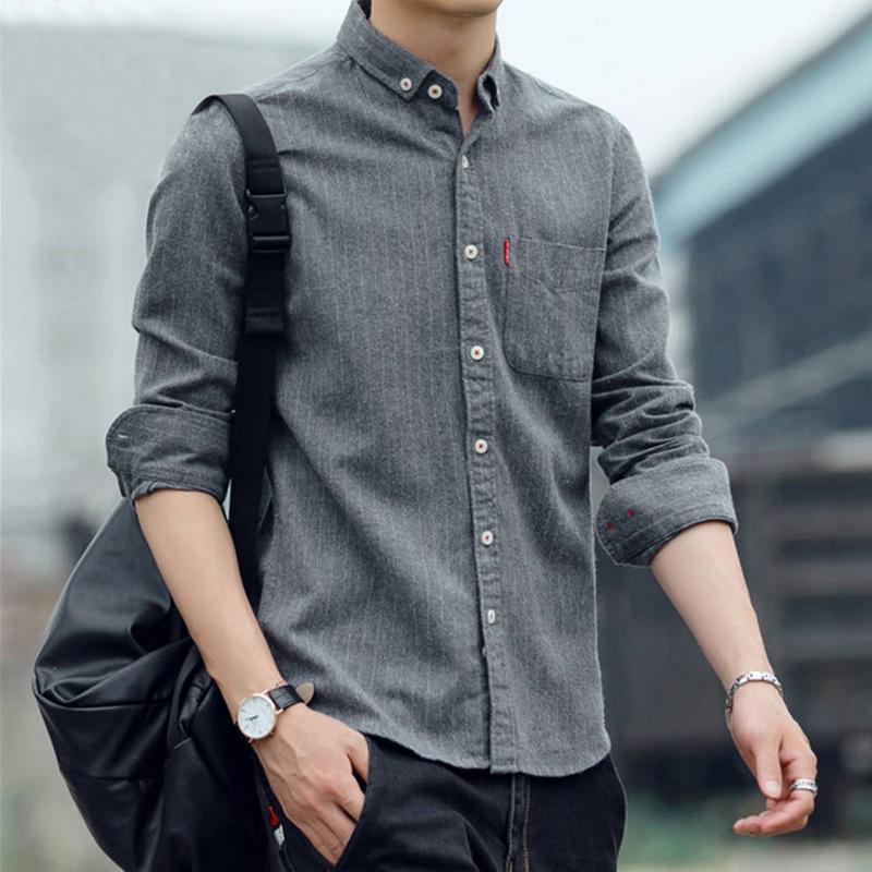 Camisa de manga larga para hombre primavera otoño ocio coreano slim fit tendencia joven y de mediana edad negocio