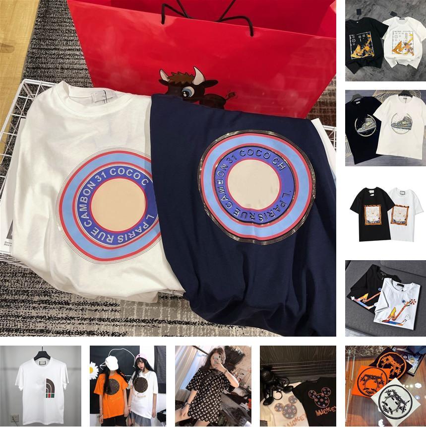 Hombre Mujeres camisetas verano camiseta 2021 de manga corta de lujo Top de la marca de la marca de la marca Moda de algodón Hip Hop Lady Casual Ropa High Fin