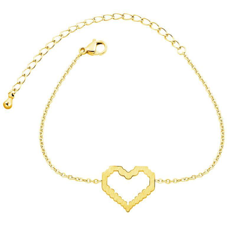 Charm Bilezikler Hollow Kalp Kadınlar Için Pulsera Takı Paslanmaz Çelik Gül Altın Zincir Armbanden Bijoux Femme Nedime Hediyeler