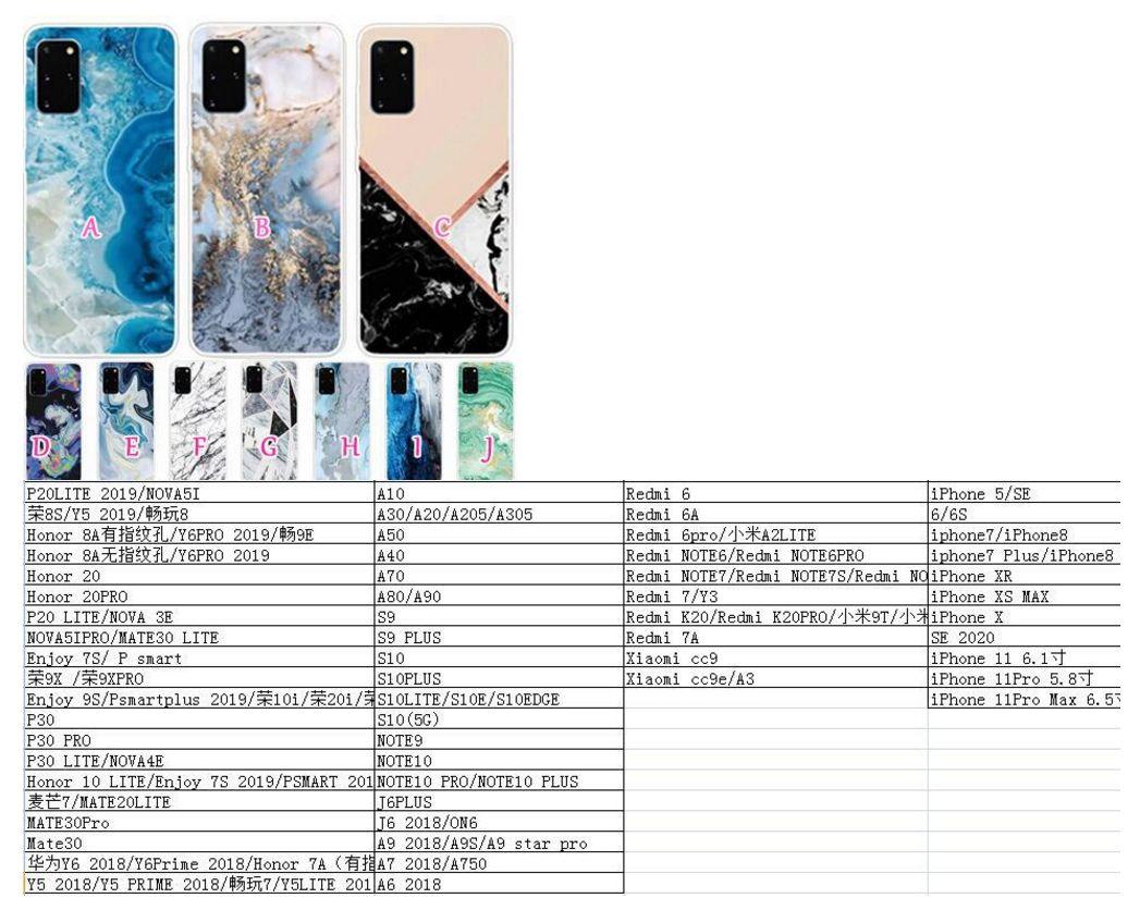 Casos de TPU Macio para Galaxy A91 A81 A71 A51 A41 A21 A11 A11 A11 A11 Ultra Híbrida Cor de Híbrida Mármore Luxo Geométrico Pedra Rock Capa do Mar