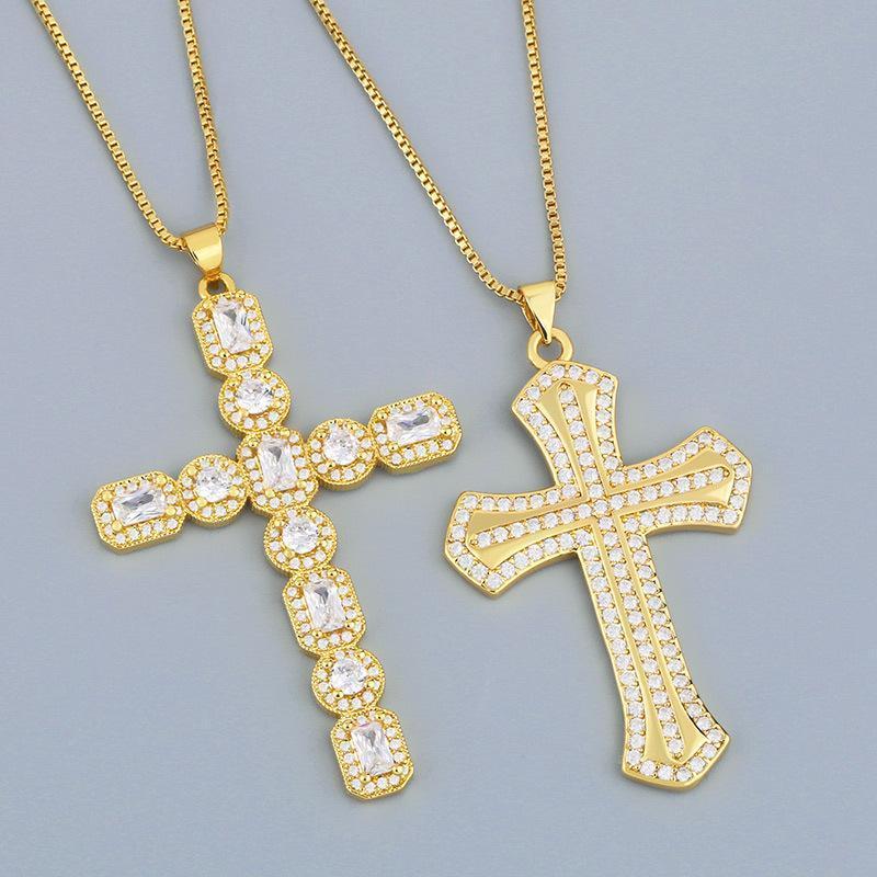 Collares colgantes Crystal Gold Color Rhinestones Cross Cross's Luxury Jewelry Collar Cena Fiesta Accesorios de Moda