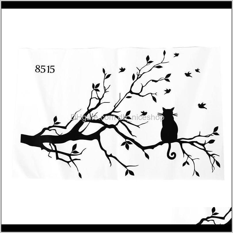 Autocollants décor maison maison goutte livraison 2021 grave trépan conçue chat sur longe branche d'arbre bricolage animaux oiseaux de mur décalcal art transferts windo