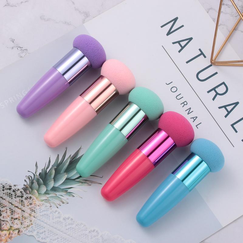 Éponges, applicateurs de coton 1 pcs crème base maquillage pinceaux têtes de champignon poupée éponge liquide brosse de couleur en option Cosmétique en forme lisse