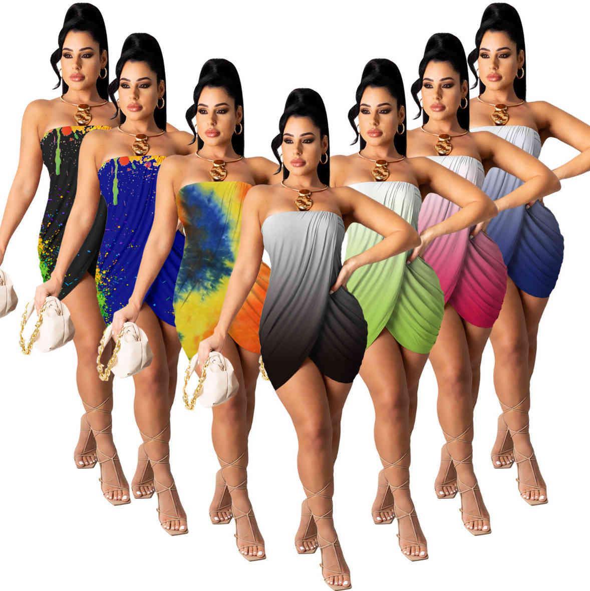 Verão strapless mini vestido casual saia sem mangas um pedaço conjunto de alta qualidade sexy elegante elegante moda moda mulheres roupas t344
